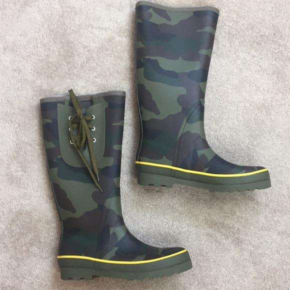 J Crew Tall Camo Rain Boots